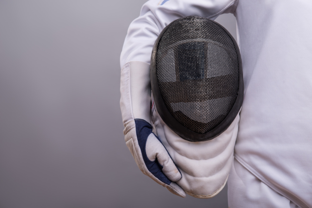 I forgot to take pictures, so here's a stock image of a fencing mask
